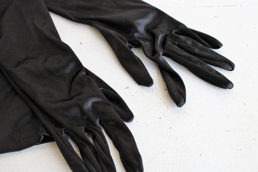 Vintage 1990s Shoulder Length Black Satin Gloves