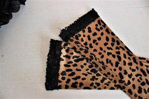 Vintage 1990s Leopard Print Stretch Satin Gloves