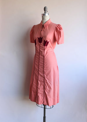 Vintage 1950s Peach Dress with Tulips