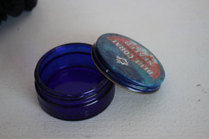 Vintage 1940s 1950s Cobalt Blue Glass Jar / Blue Coral Preservative Sealer