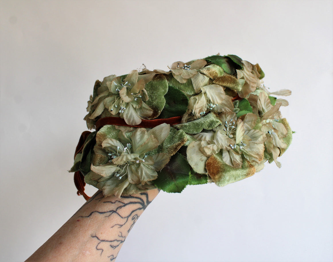 Vintage 1950s Green Floral Bucket Hat by Tille