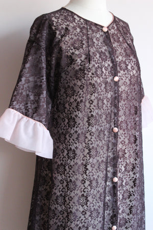 Vintage 1960s Black and Pink Lace Robe Peignoir by Couture Originals