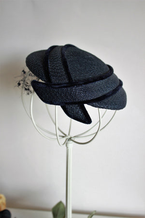 Vintage 1950s Henri Bendel Navy Blue Straw Cap With Veil