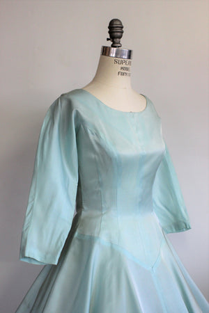 Vintage 1950s Satin Fit And Flare Ice Blue Dress