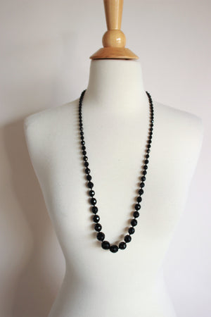 Vintage 1930s 1940s Black Czech Glass Beaded Necklace