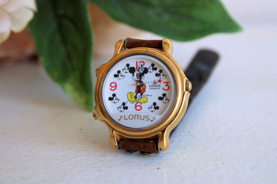 Vintage 1980s Lorus Two Tunes Mickey Mouse Wrist Watch