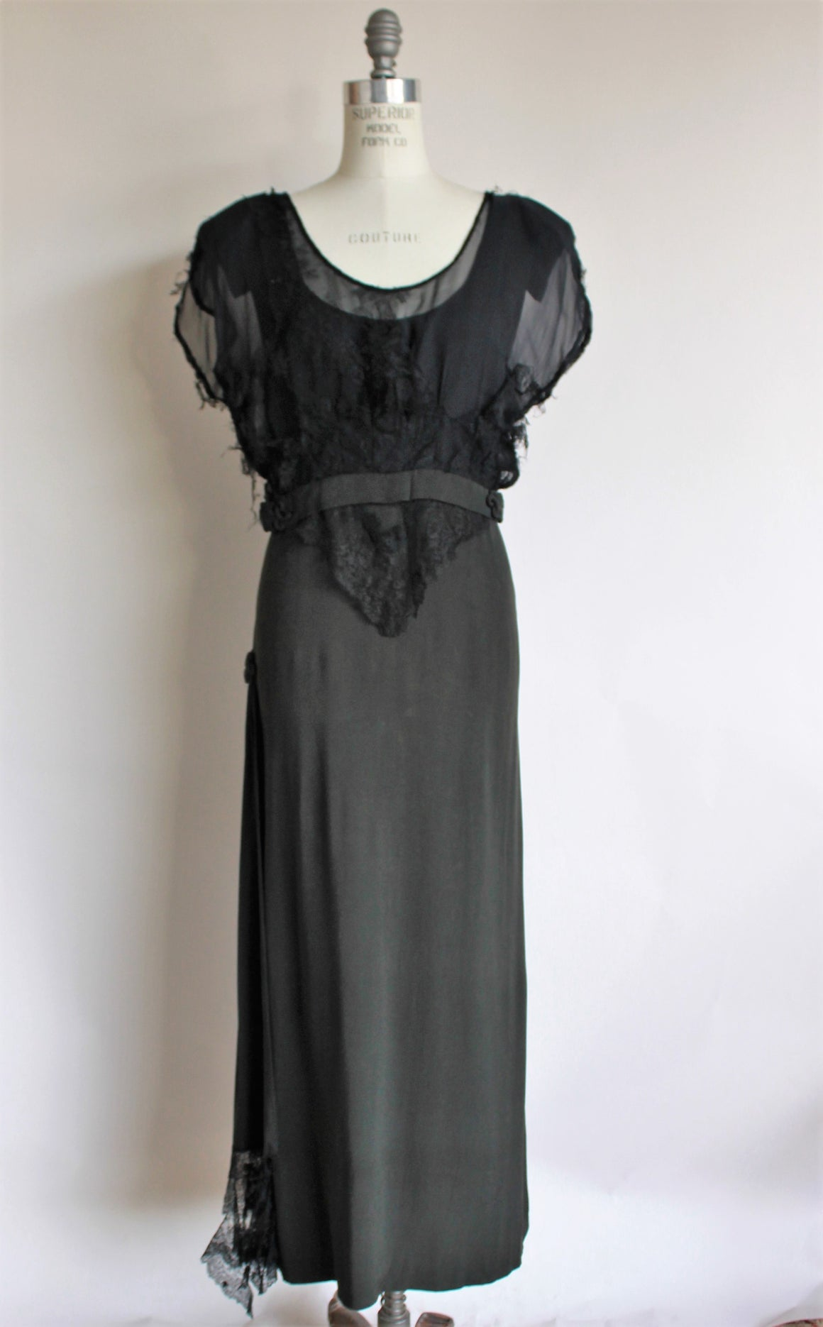 Vintage 1940s Black Rayon Dress With Lace Blouse