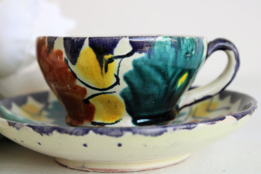 Vintage Mexican Handpainted Demitasse Tea Cup and Saucer