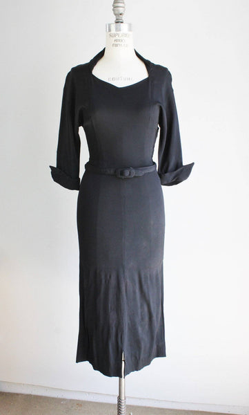 Vintage 1930s Black Rayon Crepe LIttle Black Wiggle Dress
