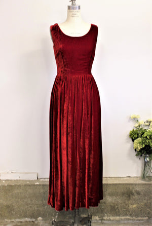Vintage 1960s Cherry Red Velvet Full Length Maxidress