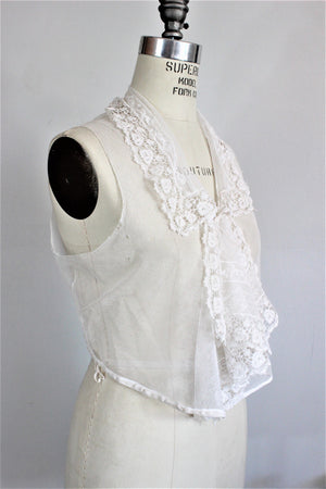 Vintage Victorian Edwardian Blouse In White With Lace Ruffle Front