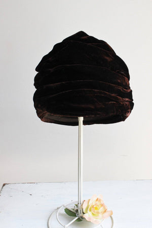 Vintage 1960s Brown Velvet Turban Hat, Lucila Mendez Exclusive New York