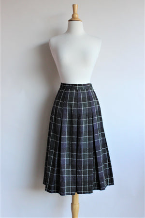 Vintage 1960s Plaid Wool Campus Casuals Pleated Skirt