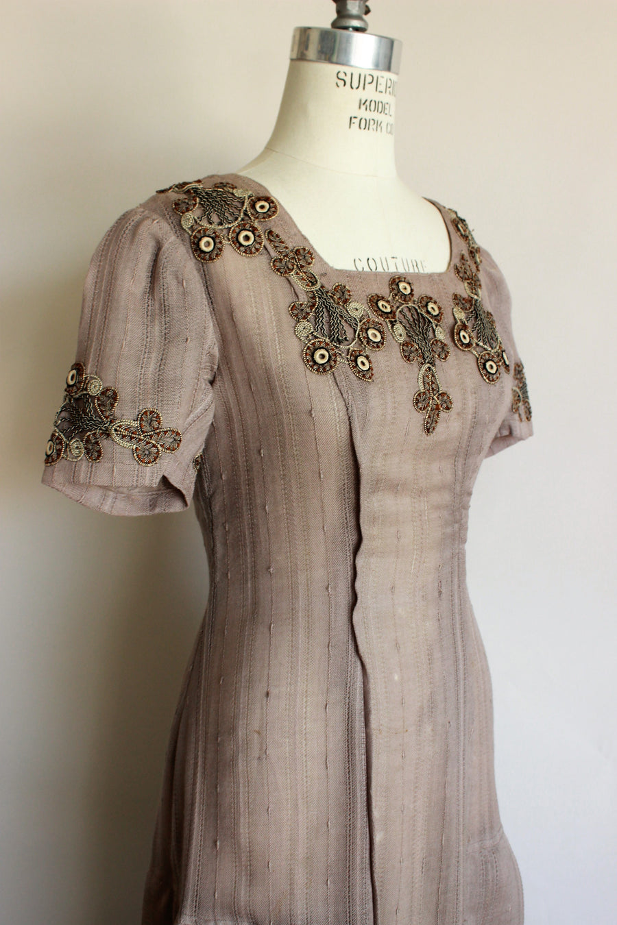 Vintage 1910s Taupe Dress