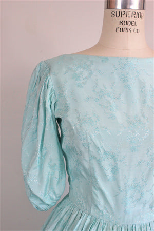 Vintage 1950s Brocade Dress / 50s Ice Blue Damask Dress