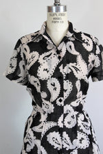 Vintage 1970s Does 1950s Shirtwaist Dress In A Black And White Paisley Print