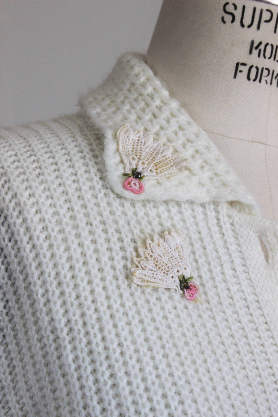Vintage 1950s Off White Cardigan Sweater, with Fan Appliques