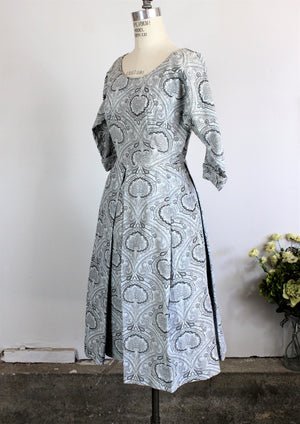 Vintage 1950s Fit And Flare Paisley Print Dress with Box Pleats