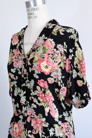 Vintage 1980's 1990s Toots Pierre Black Floral Print Dress