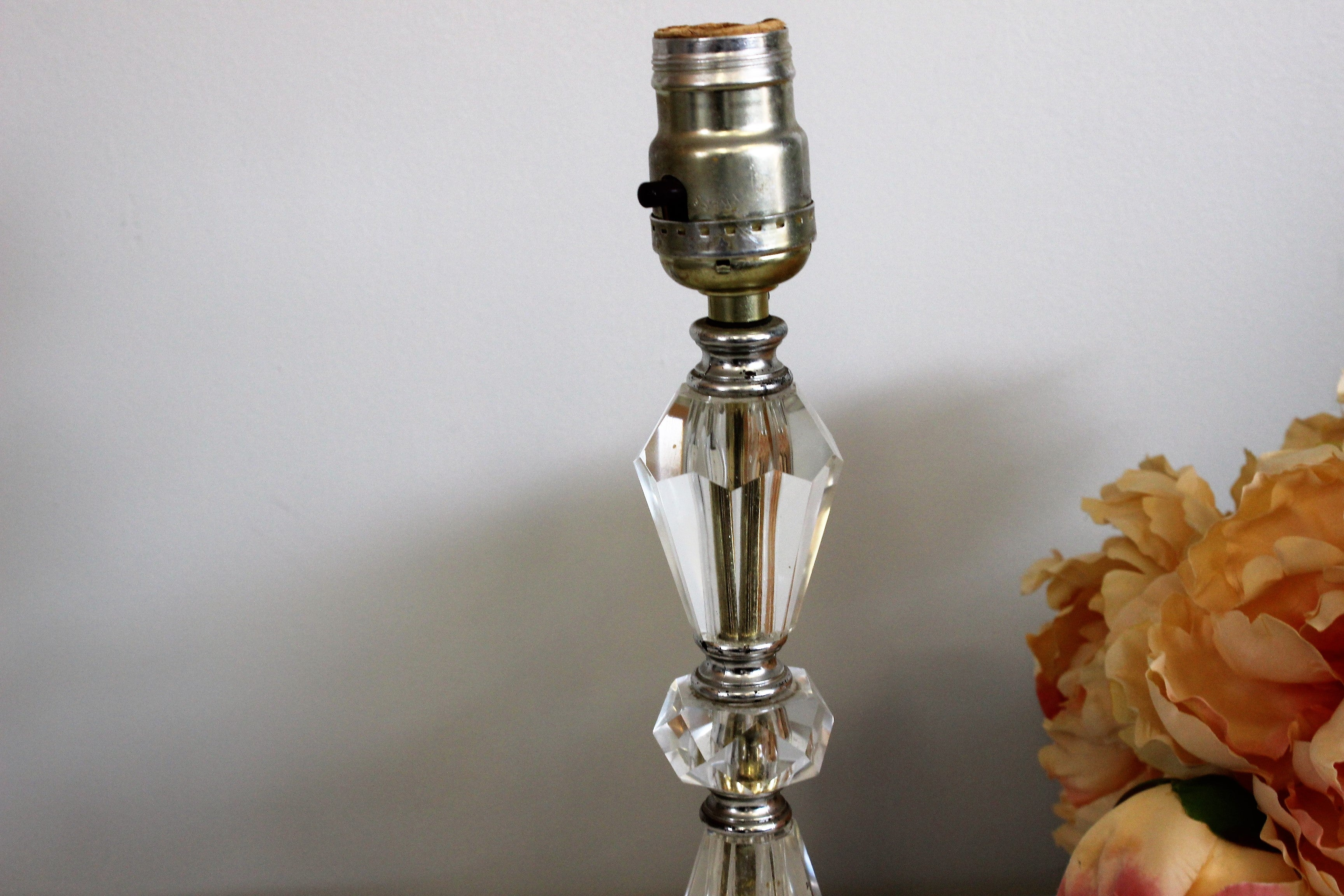 Vintage 1950s Lucite Lamp With Marble Base