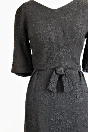 Vintage 1960s Black Damask Dress With Bow