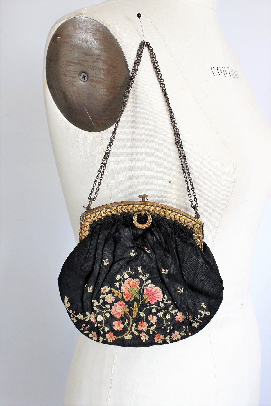 Vintage 1900s Black Silk Purse Point De Beauvais