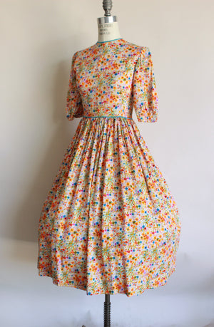 Vintage 1950s 1960s Watercolor Floral Fit And Flare Dress