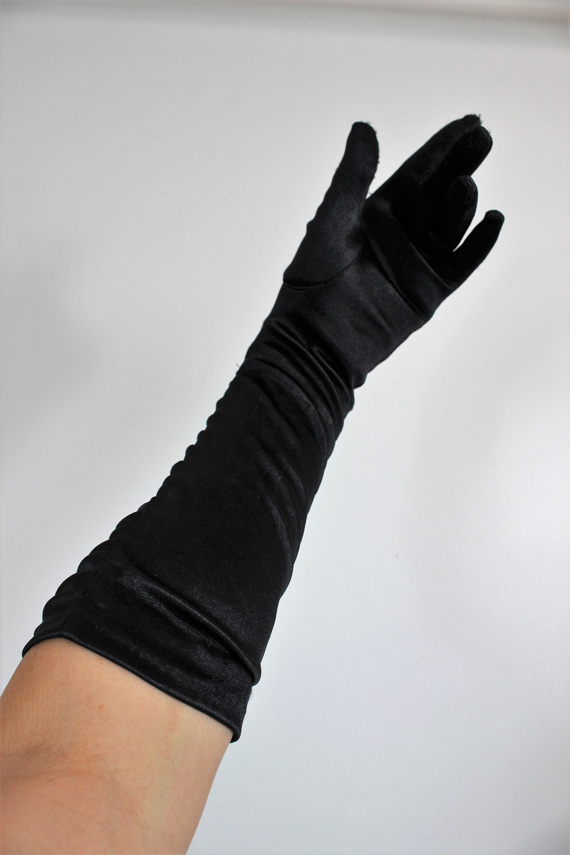 Vintage 1990s Black Satin Gloves With Ruching