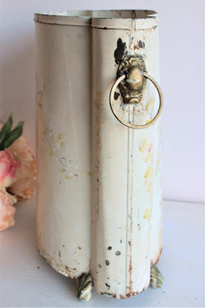 Vintage 1950s Tole Painted Metal Trash Can