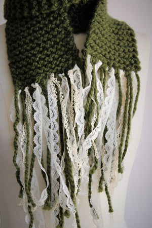 The Meadow Scarf With Lace Fringe, Handknit