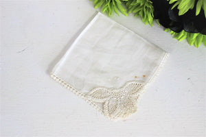 Vintage Handkerchief Linen and  Crochet Lace Butterfly