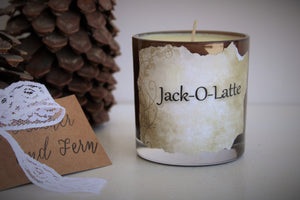 """Jack O Latte"" Soy Candle Spiced Espresso and Chocolate With Hand Torn Label"