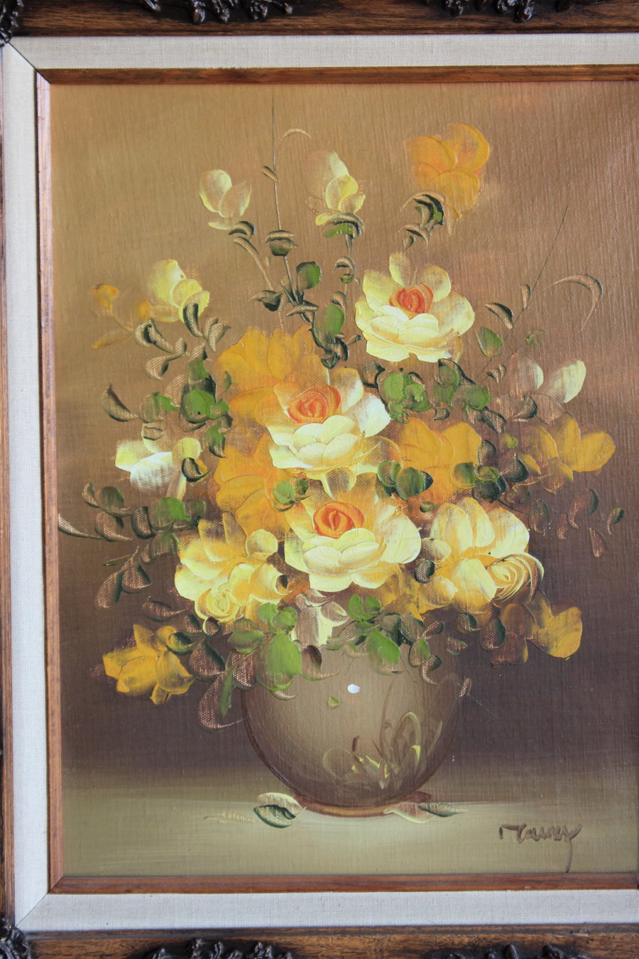 Vintage 1960s Yellow Roses Framed Oil Painting