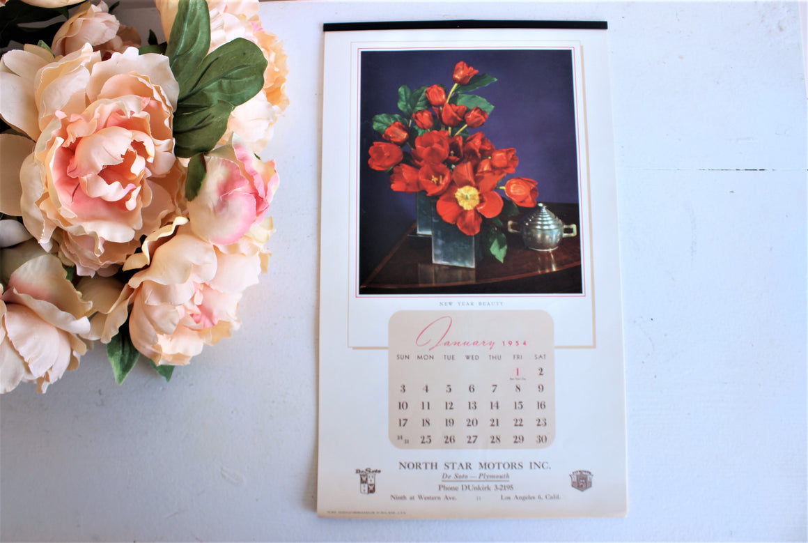 Vintage 1950s Calendar, 1954 North Star Motors Promotional Souvenir with Flowers