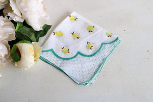 Vintage Cotton Hanky with Yellow Roses and Teal Polkadots
