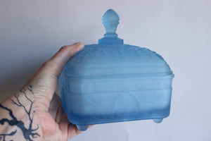 Vintage Frosted Blue Glass Honey Bee Candy Dish
