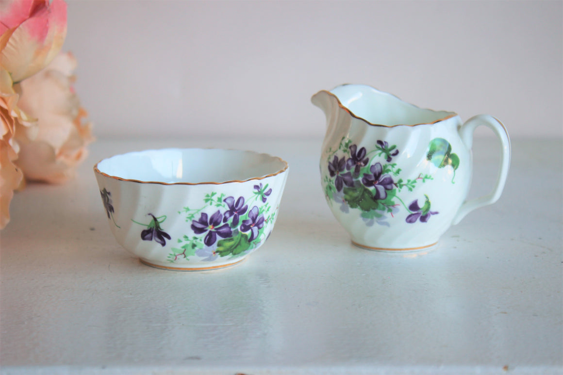 Vintage Violet Sugar and Creamer Set, by Adderly