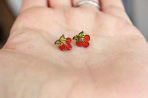 Vintage Cherry Stud Earrings