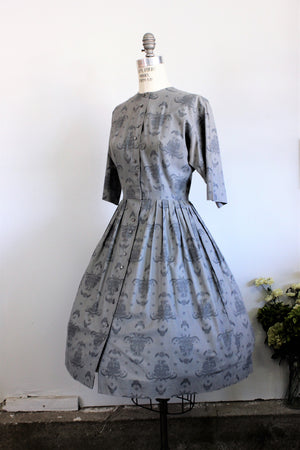 Vintage 1950s Gray Cotton Shirtwaist Dress