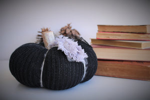 Pumpkin Pillow in Black, Embellished with Gray Roses, Black Lace and Wooden Stem