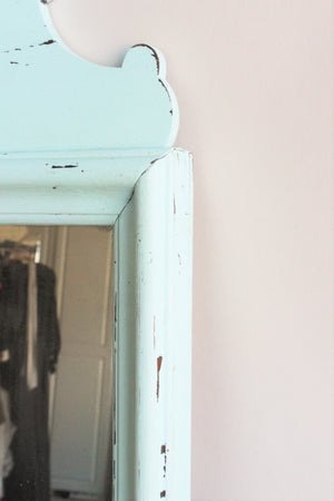 Vintage 1940s Maple wood Mirror Painted Robins Egg Blue