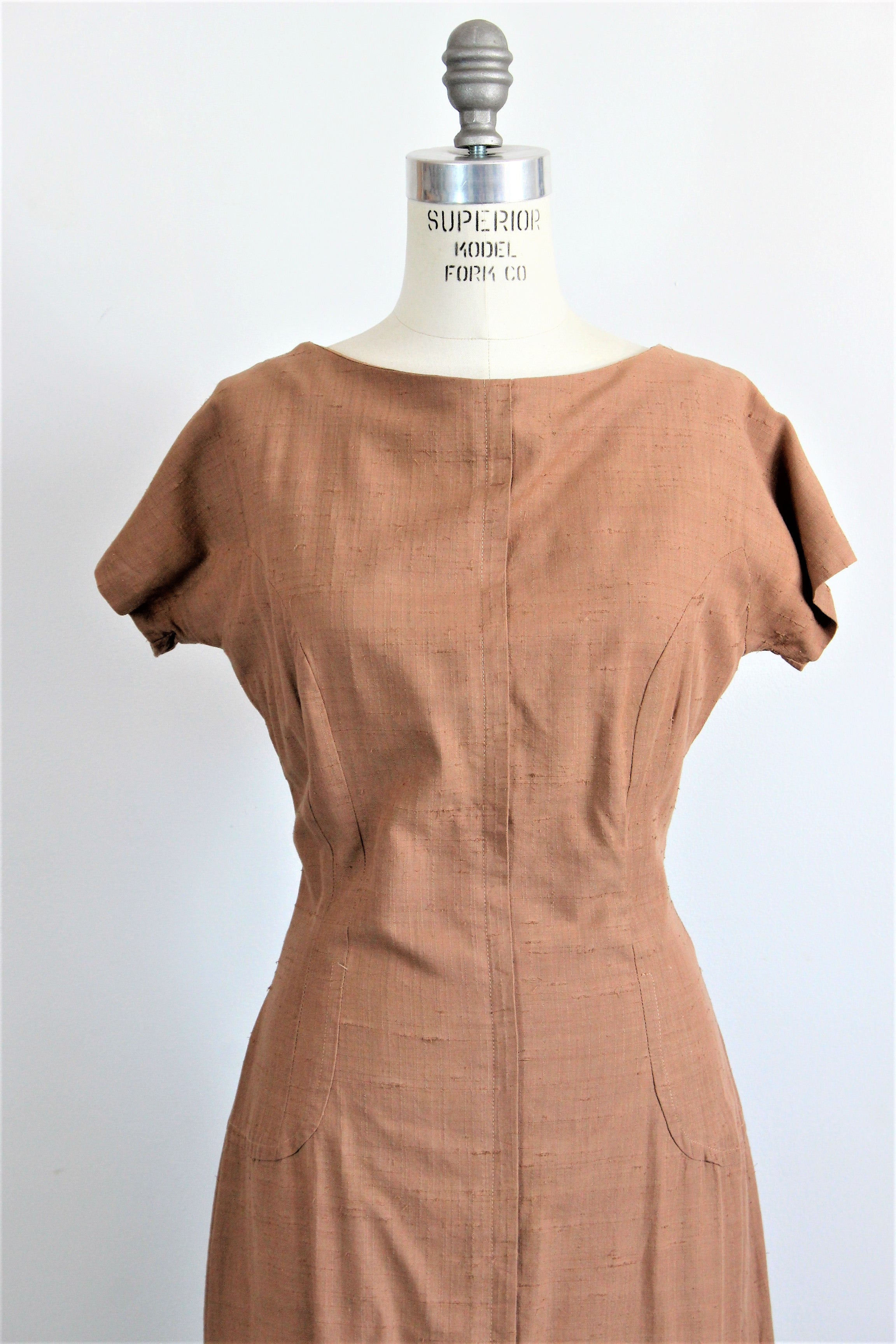 Vintage 1950s Brown Day Dress in Milk Chocolate Brown from Tall Fashions of California By Martin Berens