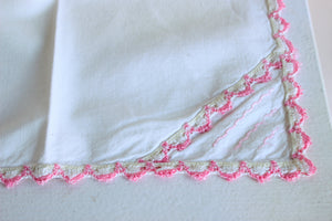 Vintage 1950s Cotton Couch Cover with Pink Lace Trim