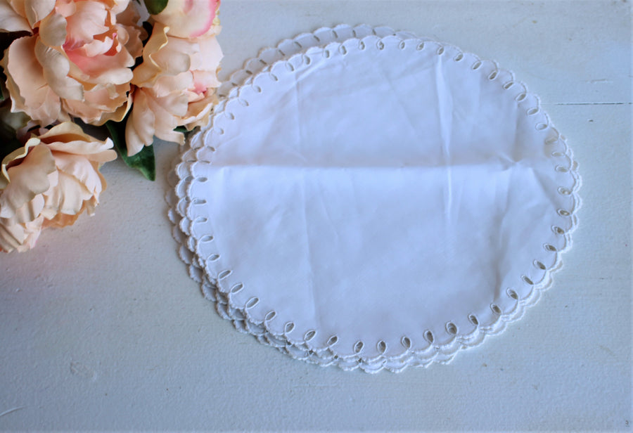 Vintage Set of Six White Linen Doilies