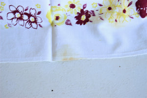Vintage 1940s Tablecloth with Teapot Print