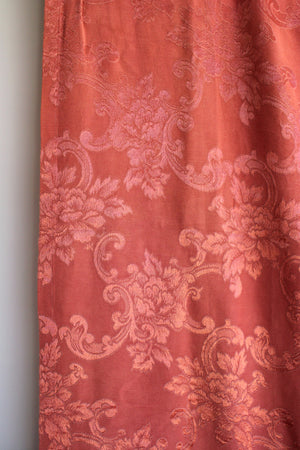 Vintage 1940s 1950s Pink Damask Curtains