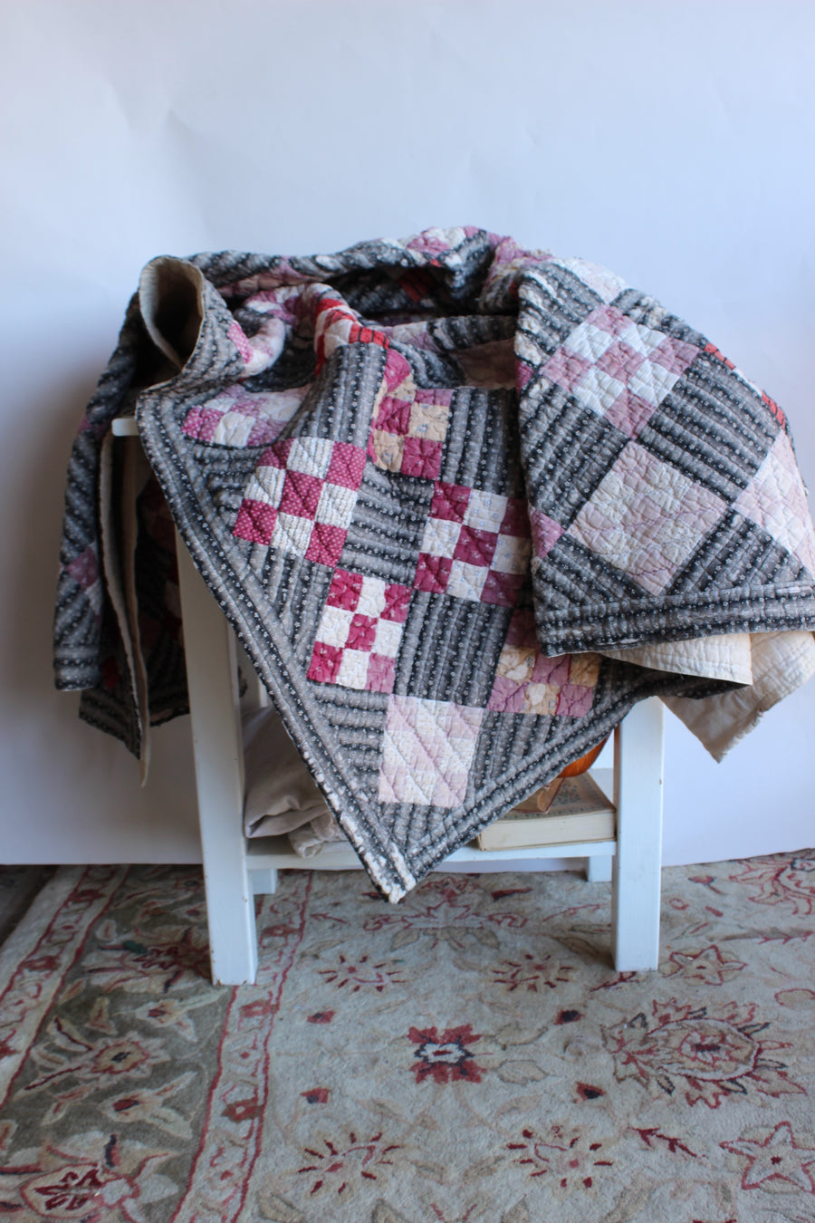 Vintage 1940s 1950s Feedsack Quilt