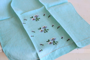 Vintage Robins Egg Blue Embroidered Tea Towel