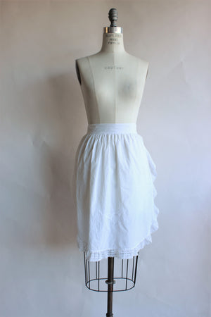 Vintage Early 1900s White Cotton Apron