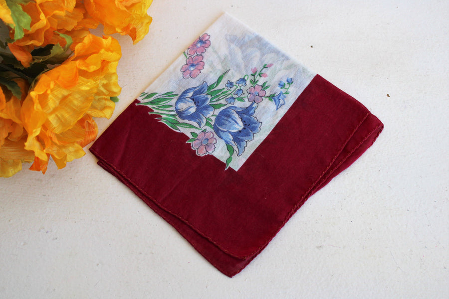Vintage Cotton Handkerchief, Circa 1940s